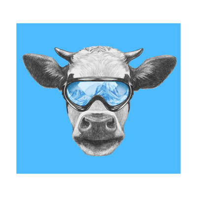 Portrait of Cow with Ski Goggles. Hand Drawn Illustration. Prints by  victoria_novak