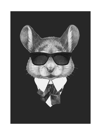 Portrait of Mouse in Suit. Hand Drawn Illustration. Posters by  victoria_novak