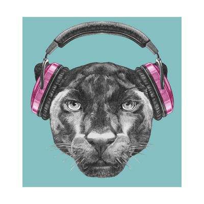 Portrait of Panther with Headphones. Hand Drawn Illustration. Art by  victoria_novak