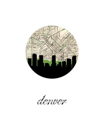 Denver Map Skyline Prints