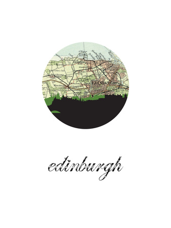 Edinburgh Map Skyline Posters