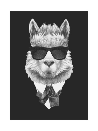 Portrait of Lama in Suit. Hand Drawn Illustration. Posters by  victoria_novak