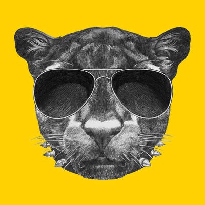 Portrait of Panther with Sunglasses and Collar. Hand Drawn Illustration. Posters by  victoria_novak