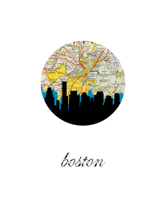 Boston Map Skyline Art