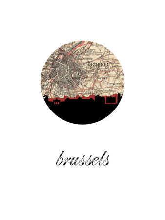 Brussels Map Skyline Posters