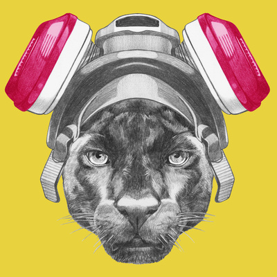 Portrait of Panther with Gas Mask. Hand Drawn Illustration. Print by  victoria_novak