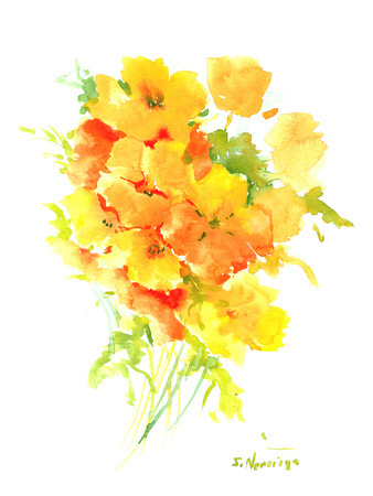 California Poppies Art by Suren Nersisyan