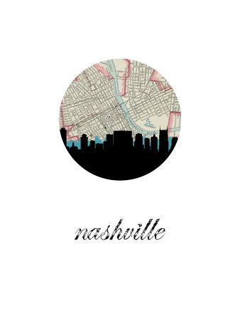 Nashville Map Skyline Prints