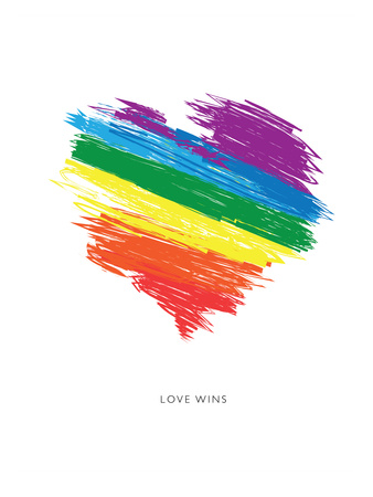 Love Wins Rainbow Scrawl Prints by Brett Wilson