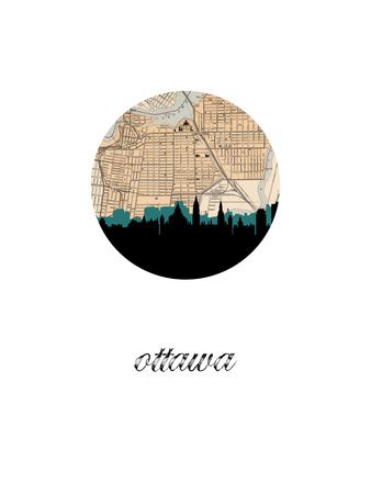 Ottawa Map Skyline Print