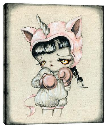 Unicorn Boxer - Big Eye Girl Stretched Canvas Print by Pinkytoast