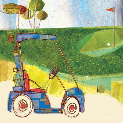 Golf Cart in Blue Print by Robbin Rawlings