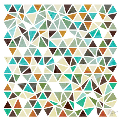 Triangles - Gold and Turquoise Prints by Dominique Vari