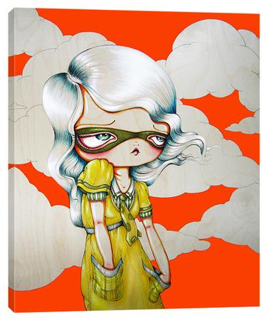 Plaid Pockets - Big Eye Girl Stretched Canvas Print by Pinkytoast