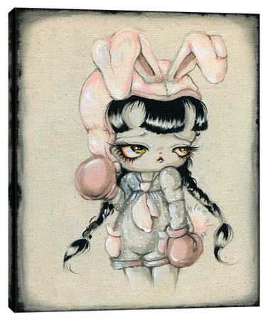 Bunny Boxer - Big Eye Girl Stretched Canvas Print by Pinkytoast