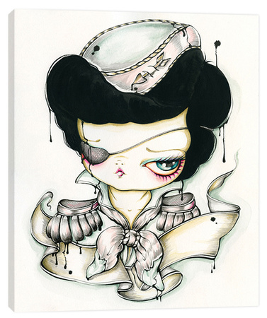Tattoo Girl Ink Portrait - Big Eye Girl Stretched Canvas Print by Pinkytoast