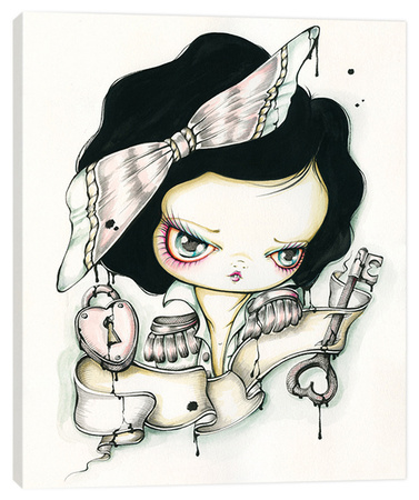 Tattoo Girl Ink Portrait in Today's Bow - Big Eye Girl Stretched Canvas Print by Pinkytoast