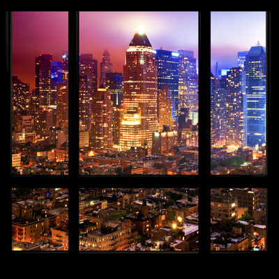 View from the Window - Hell's Kitchen Night - Manhattan Photographic Print by Philippe Hugonnard