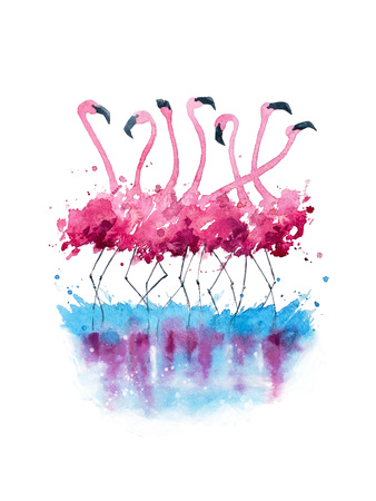 Flamingos Watercolor Painting Posters by  Kamenuka