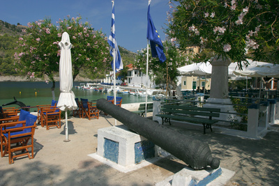 Waterfront, Assos, Kefalonia, Greece Photographic Print by Peter Thompson