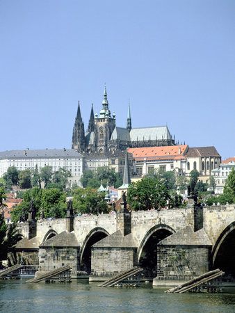 The Charles Bridge the Castle and St Vitus Cathedral, Prague, Czech Republic Photographic Print by Peter Thompson