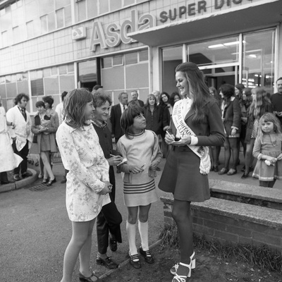 Miss Great Britain at Asda, Rotherham, South Yorkshire, 1972 Photographic Print by Michael Walters