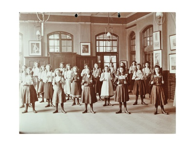 Girls Holding Indian Clubs, Cromer Street School/ Argyle School, St Pancras, London, 1906 Photographic Print