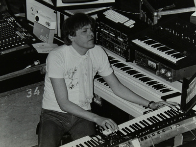 German Electronic Musician Klaus Schulze at the Forum Theatre, Hatfield, Hertfordshire, 1983 Photographic Print by Denis Williams