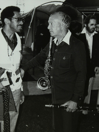Philly Joe Jones and Earle Warren Chatting at the Newport Jazz Festival, Middlesbrough, 1978 Photographic Print by Denis Williams!