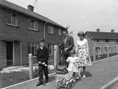 Street Scene with Family, Ollerton, North Nottinghamshire, 11th July 1962 Photographic Print by Michael Walters