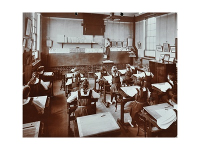 Art Lesson, Fulham County Secondary School, London, 1908 Photographic Print