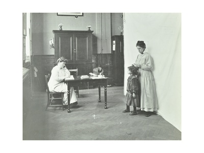 School Nurse Examining Girls Hair for Head Lice, Chaucer School, London, 1911 Photographic Print