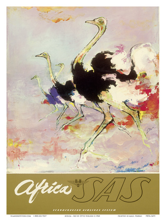Africa - African Ostriches - SAS Scandinavian Airlines System Poster by Otto Nielsen