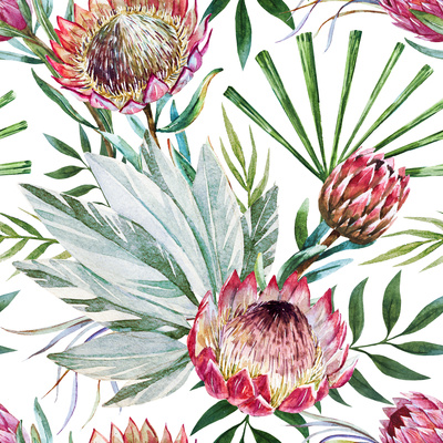 Raster Tropical Protea Pattern Prints by  Zenina