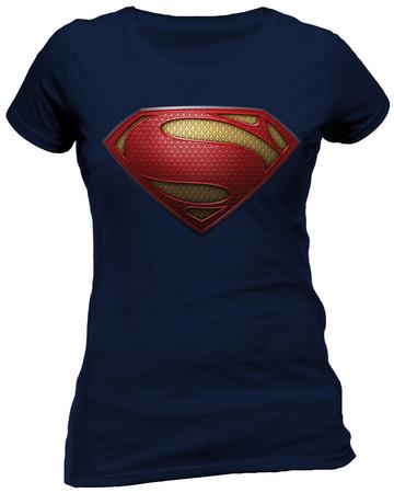 Juniors: Man Of Steel- Textured Logo T-Shirts