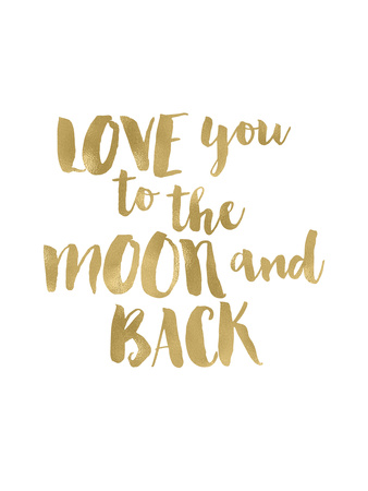 Love You To Moon Back Gold White Posters by Amy Brinkman