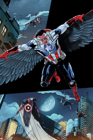 All-New Captain America: Fear Him No. 1 Cover, Featuring: Falcon Cap Prints by Szymon Kudranski