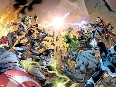 Avengers No. 39 Cover, Featuring: Captain Marvel, Falcon Cap, Hawkeye, Black Widow, Spider Woman Posters by Alan Davis