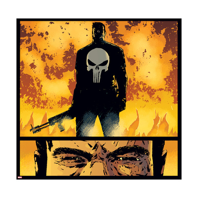 Marvel Knights Punisher posing in front of flames holding assault rifle Punisher art merchandise