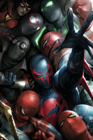 Spider-Man 2099 No. 8 Cover, Featuring: Spider-Man 2099, Spider-Man, Spider Woman, Spider-Man Noir Plastic Sign by Francesco Mattina