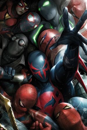 Spider-Man 2099 No. 8 Cover, Featuring: Spider-Man 2099, Spider-Man, Spider Woman, Spider-Man Noir Poster by Francesco Mattina
