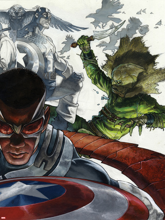 All-New Captain America: Fear Him No. 2 Cover, Featuring: Falcon Cap, Captain America, Scarecrow Prints by Simone Bianchi
