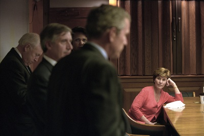 First Lady Laura Bush in the White House Emergency Operations Center, Sept. 11, 2001 Photo