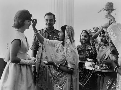 Jacqueline Kennedy Having a 'Bindi' Placed on Her Forehead at Jaipur, India Photo