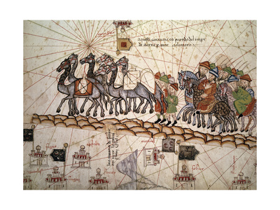 Marco Polo Road to Cathay, Catalan Atlas, Caravan of Travelers Giclee Print by Abraham Cresques