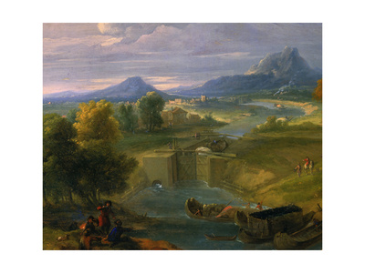 Landscape with Canal and Lock Giclee Print by Jean Baptiste Martin