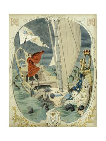 Richelieu Leads the Ship of State Giclee Print by Maurice Leloir