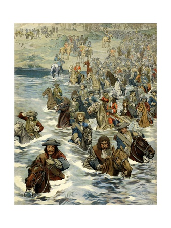 French Army Crossing the Rhine into Holland Giclee Print by Maurice Leloir