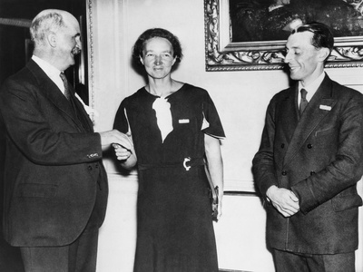 Irene Joliot-Curie with Sir William Brace, Head of the Royal Institution, and Frederic Joliot Photo