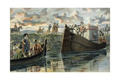 Richelieu Returns to Rhone, Towing Boat with Prisoners Cinq Mars and De Thou Giclee Print by Maurice Leloir